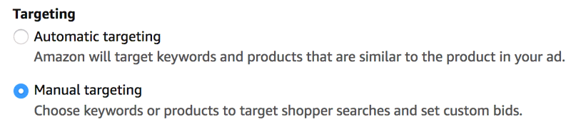 Amazon PPC Manual targeting