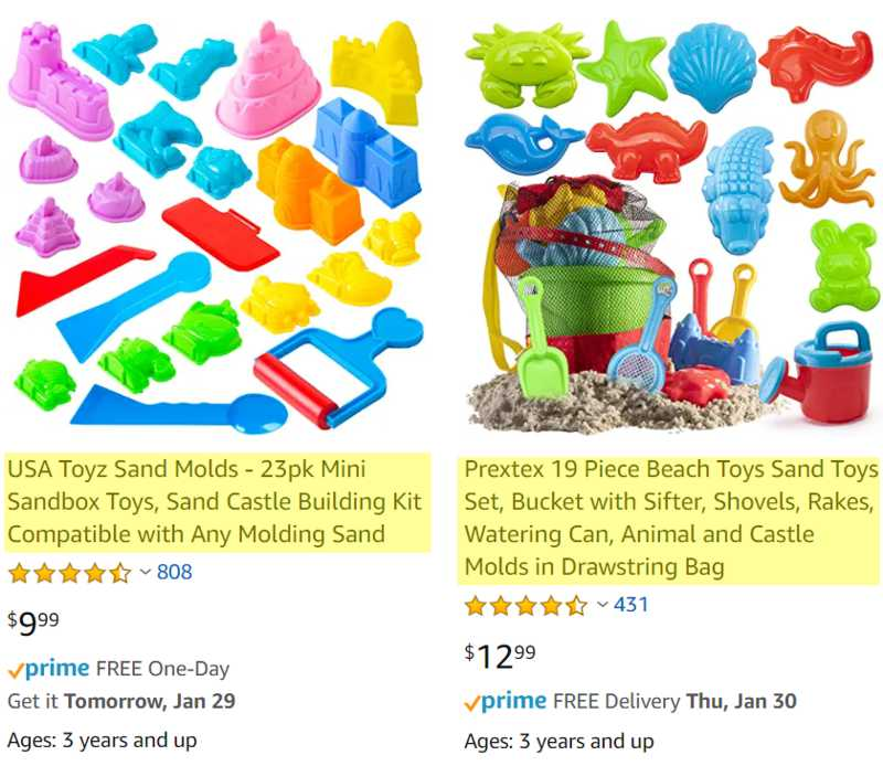 Amazon Sand Mold Example Product Title
