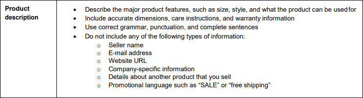 Amazon Style Guide Product Description