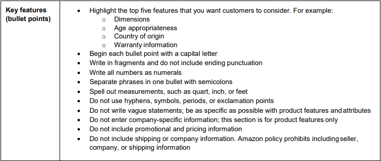 Amazon Style Guide Product Key Features