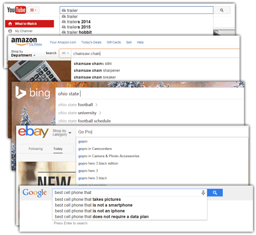 Autocomplete keyword results